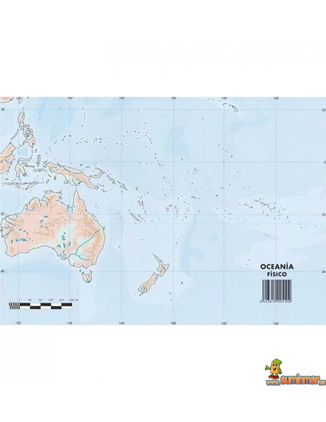 Mapa Mudo Oceania A4