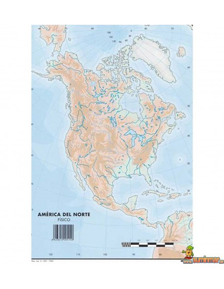 Mapa mudo América del Norte A4