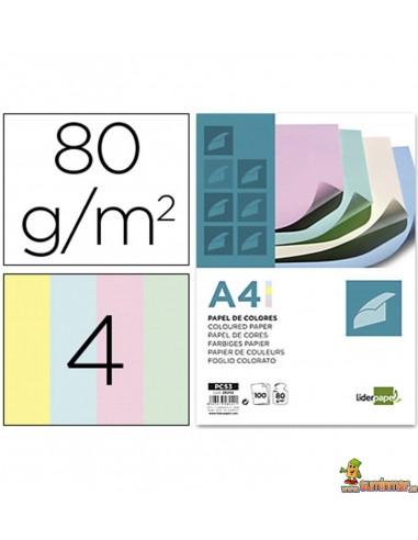 Papel color A4 80g 100 hojas en 4 colores