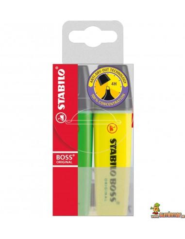 Estuche Doble Stabilo Boss Original. Verde-Amarillo