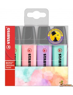 Pack Stabilo Boss Original Pastel 4 colores