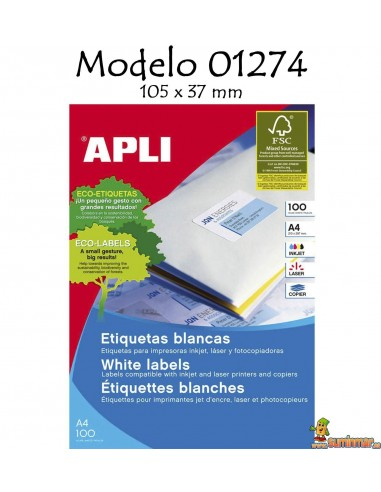 Apli 01274 Etiquetas 105x37mm 1600 ud