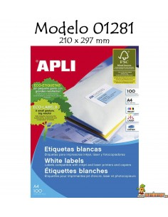 Etiquetas Apli. 01281. 210 x 297 mm. 100 Etiquetas. 100 Hojas.