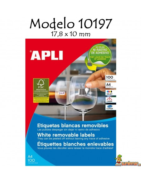 Apli 10197 Etiquetas 17,8x10mm 6750 ud