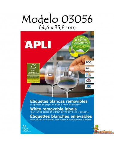 Apli 03056 Etiquetas 64.6x33.8mm 2400 ud