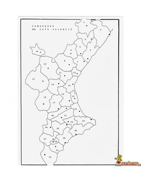 Mapa mudo Comunidad Valenciana A4