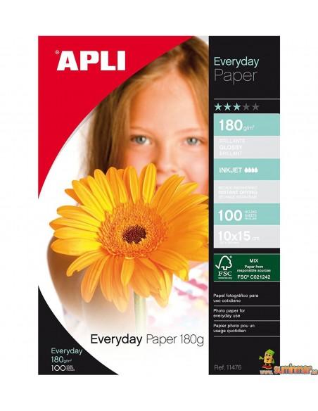 Papel Fotográfico A4 Glossy 180g 100 hojas Apli
