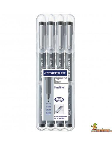 Pack Rotuladores calibrados Staedtler Pigment Liner 4 uds