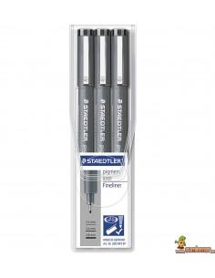 Pack Rotuladores calibrados Staedtler Pigment Liner 3 uds