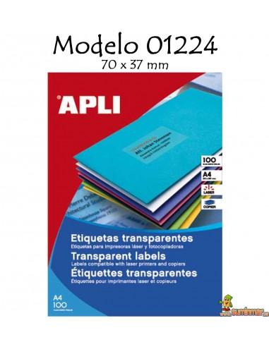 Apli 01224 Etiquetas transparentes 70x37mm 480 ud
