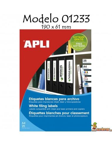 Apli 01233 Etiquetas 190x61mm 100 etiquetas 25 hojas