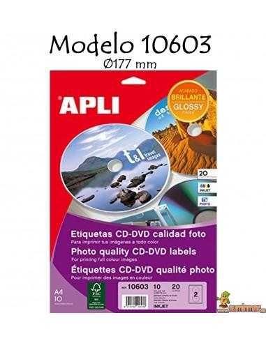 Apli 10603 Etiquetas para CD-DVD Ø177mm 20 ud