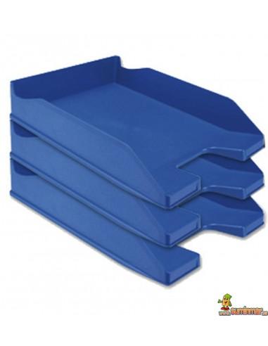 Bandejas de sobremesa plástico Apilable Colores opacos Q-Connect Azul