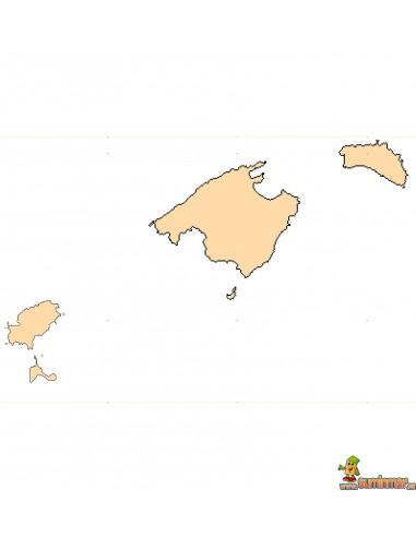 Mapa mudo Islas Baleares A4