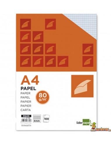 Papel cuadriculado 4mm A4 80g 100 hojas