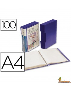 Carpeta escaparate rígida DIN A4  con caja 40 fundas fijas