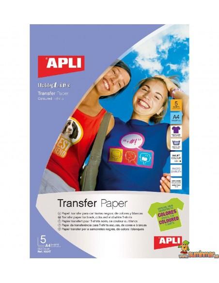Papel transfer para tela A4 Apli 5 hojas
