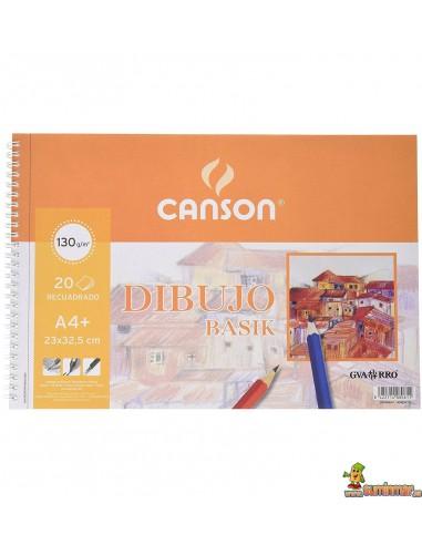 Bloc de dibujo Basik Canson DIN A4+ 130g 20 hojas Con recuadro