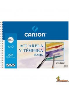Bloc Acuarela y Témpera Canson A3+ 370g/m2 10 hojas