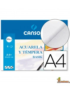 Papel Acuarela y Témpera Basik Canson A4 370g/m2 6 hojas