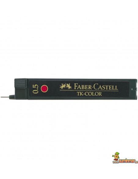 Minas Faber Castell 0.5mm Rojo 12ud