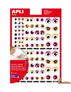 Gomets de ojos en distintos colores y tamaños 312 uds Rojo Naranja Azul