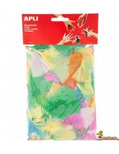 Plumas collage de colores para manualidades 24 uds