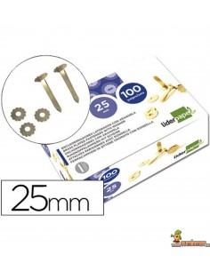 Encuadernador latonado cabeza extraplana con arandela 25 mm