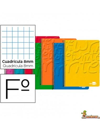 Cuaderno en espiral Folio 80hojas 60g/m2 cuadro 8mm con margen