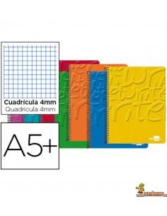 Cuaderno en espiral DIN A5 80hojas 60g/m2 cuadro 4mm con margen