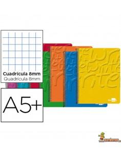 Cuaderno en espiral DIN A5 80hojas 60g/m2 cuadro 8mm con margen