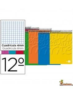 Cuaderno en espiral 12º 80hojas 60g/m2 Cuadros 4mm sin margen