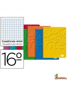 Cuaderno en espiral 16º 80hojas 60g/m2 Cuadros 4mm sin margen