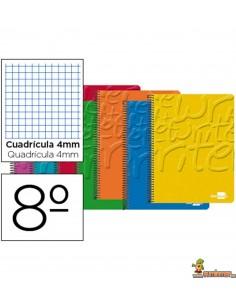 Cuaderno en espiral 8º 80hojas 60g/m2 Cuadros 4mm sin margen