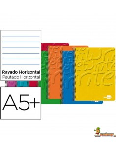 Cuaderno en espiral DIN A5 80hojas 60g/m2 1 raya con margen