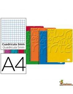 Cuaderno en espiral DIN A4 80hojas 60g/m2 Cuadros 5mm con doble margen 4 taladros