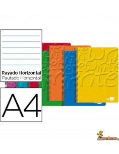 Cuaderno en espiral DIN A4 80hojas 60g/m2 1 raya con doble margen 4 taladros