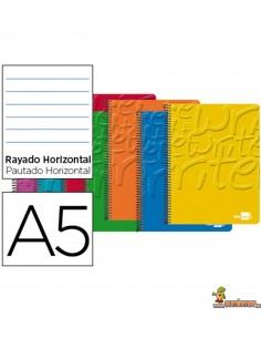 Cuaderno en espiral DIN A5 80hojas 60g/m2 1 raya con doble margen 6 taladros