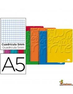 Cuaderno en espiral DIN A5 80hojas 60g/m2 Cuadros 5mm con doble margen 6 taladros