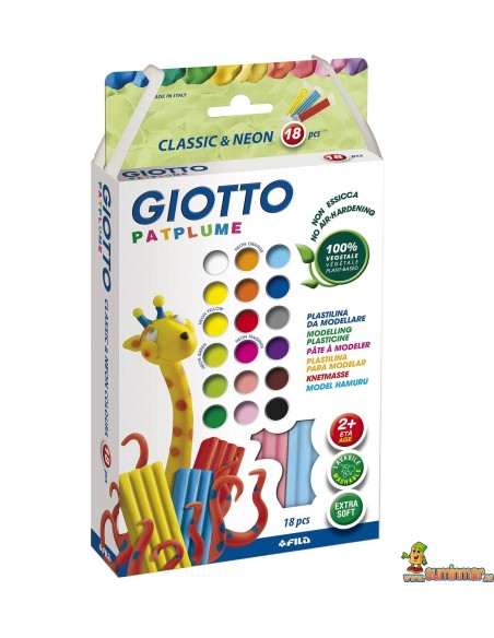 Plastilina 18 uds x 20 g colores surtidos Giotto Patplume