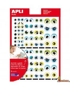 Gomets de ojos en distintos colores y tamaños 312 uds Amarillo Azul Verde