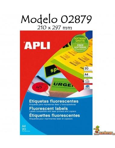 Apli Etiquetas fluorescente 210x297 20 hojas
