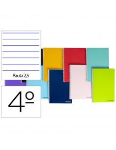 Cuaderno en espiral DIN A5 80hojas 60g/m2 2 rayas estrechas con margen