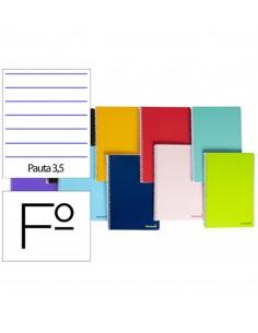 Cuaderno en espiral Folio 80 hojas 60g/m² 2 rayas con margen