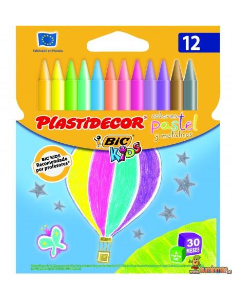 Ceras Plastidecor colores pastel y metálicos 12ud